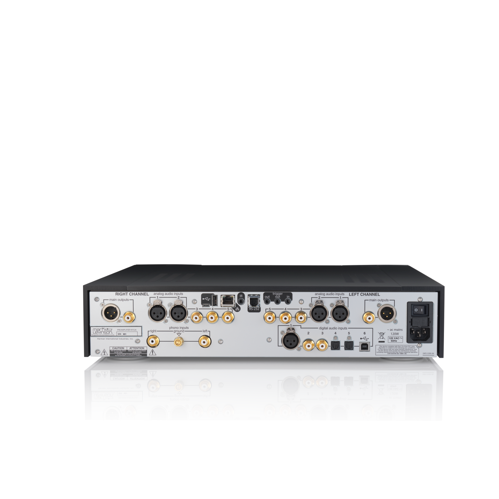 № 526 - Black - Dual-Monaural Preamplifier for Digital and Analog Sources - Back